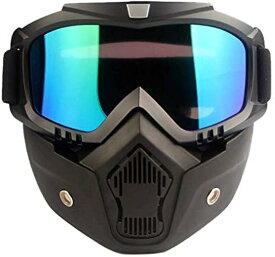 サバイバルゲーム オリジナル修正バージョン フルフェイスマスク ゴーグル 取り外し可能 防水 グラス耐衝撃 保護 メガネ 眼 目 防風 防塵 UVカット バイク モトクロス ツーリング BMX pa148(カラフル)