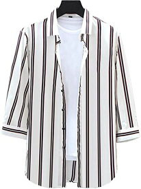 ラッキーチャーム メンズ 韓流シャツ 7部袖シャツ カジュアルシャツ 柄 ホワイト スリム スマート オシャレ ポリエステル ストライプ 白 ストライプシャツ(白マルチストライプ, S)