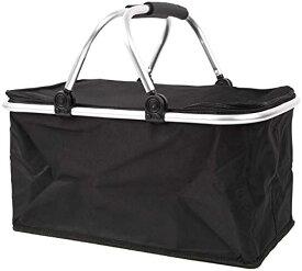 スプレンノ クーラーバスケット 28L 折り畳み 大容量バッグ ピクニックかご 保温 保冷 コンパクト収納(ブラック)