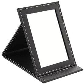 スプレンノ 折り畳みミラー 化粧鏡 スタンドミラー 角度調整 自由自在 外装PUレザー仕上げ(M)