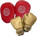 Gran Roi ボクシング グローブ ミット キック ムエタイ 空手 格闘技 子供用 親子(金グローブ×赤ミット2個セット)