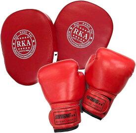 Gran Roi ボクシング グローブ ミット キック ムエタイ 空手 格闘技 子供用 親子(赤グローブ×赤ミット2個セット)