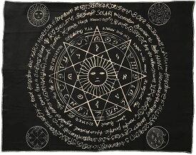 大判 タロットクロス 95cm タロット占い タペストリー 猫 ホロスコープ 占星術 BLACK-2(「E」シンボル BLACK-2, 95cm×73cm)