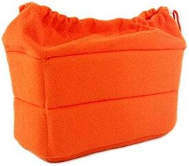 カメラケース インナーバッグ 一眼レフ 衝撃吸収 クッション ソフト やわらか素材 カラフル おしゃれ バッグインバッグ(オレンジ)