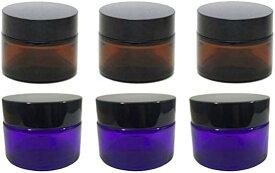SP クリーム容器 クリームケース 遮光ジャー 詰め替えボトル ハンドクリーム アロマ 遮光瓶 ガラス 保存20g 6個セット(アンバー パープル, 20g)