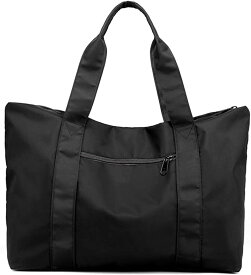 トートバッグ 大容量 防水 ナイロン 大きめ 旅行鞄 キャリーオンバッグ 肩掛け 手提げ 2WAY SH314(ブラック, 35L、15.6型ノートPC)