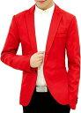 メンズ カジュアル テーラード ジャケット スリム ビジネス 無地 長袖 ひとつ ボタン XL,(レッド, XL)