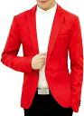 メンズ カジュアル テーラード ジャケット スリム ビジネス 無地 長袖 ひとつ ボタン S,(レッド, S)