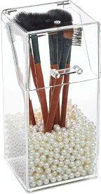 コスメ収納 メイクブラシホルダー ふた付き スタンド メイクブラシケース 収納ボックス パールストーン付き メイクボックス アクリルケース 透明 化粧品 卓上 収納ケース 化粧ブラシ(クリアー)