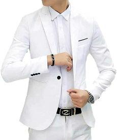メンズ テーラード ジャケット ビジネス フォーマル スーツ 大きいサイズ カジュアル 無地(10-ホワイトM, M)