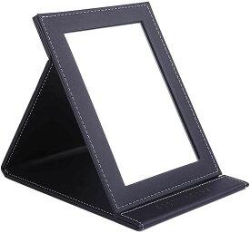 スプレンノ 卓上ミラー 卓上鏡 折り畳みミラー 折りたたみ式 化粧鏡 レザー仕上げ(L)