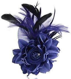 特別な日に胸元を彩る コサージュ 羽根付き 2way 結婚式 入学式 卒業式 b-12(ブルー)