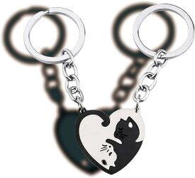 猫 キーホルダー ペア カップル キーリング ネコちゃん ステンレス製 プレゼント MDM(黒と銀色)