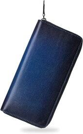 ポヨリー 財布 メンズ 長財布 本革 ラウンドファスナー 大容量 人気 金運財布 紳士 MDM(ネイビー)