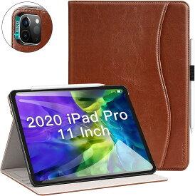 Ztotop i Pad Pro 11 2020 ケース ビジネス風 オートスリープ機能 ペンシル収納 カードポケット付き 手帳型 全面保護 2020春発売の新モデルi 11専用(ブラウン, i Pad Pro 11)