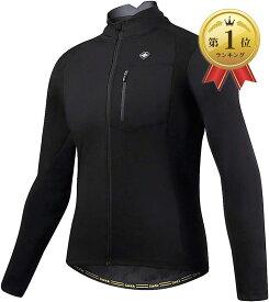 メンズ サイクルジャケット 長袖 サイクルジャージ サイクルウェア 自転車ウェア 防風防寒 秋冬用(ブラック, M)