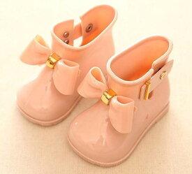 キッズ 女の子 レインブーツ レインシューズ 靴 子供 ガールズ 長靴 雨靴 リボン measurement_12_point_5_centimeters(ピンク, 12.5〜13.0 cm A)