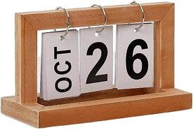 カレンダー 日めくりカレンダー 卓上 オフィス インテリア 木製 デスク シンプル ヴィンテージ(ウッド)