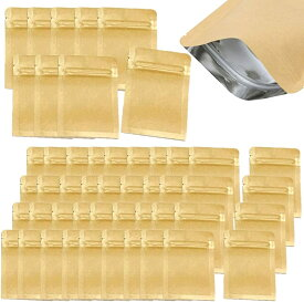 ジップ袋 クラフト紙 内面 アルミ シーラー 対応 SW1052 SSサイズ 7x10cm 50枚(SSサイズ 7x10cm 50枚, SS 7x10cm 50枚)