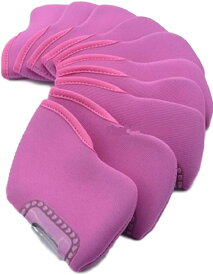 ゴルフ アイアン ヘッド カバー 番手 見える 窓 付 ソフト 素材 10個 セット 色 選べる(ピンク)