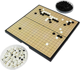 アビアント ポータブル囲碁セット 19路盤 折り畳み式 持ち運び ズレない 磁気囲碁盤 ボードゲーム