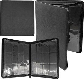 トレーディング カードファイル 令和進化版 大容量 高級レザー PU素材 12ポケット 480枚収納 デュエル・マスターズ ポケモンカード バトルスピリッツ ヴァンガード バディファイト ヴァイスシュヴァルツ 保管 コレクション(ブラック)