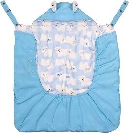 ベビーケープ 抱っこ紐ケープ ベビーカーカバー フリース 起毛生地 暖かい お出かけ 簡単装着 ポケット付き フード付き MDM(ブルー)