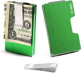 STCRAFT マネークリップ カードケース スキミング防止 ミニ財布 メンズ レディース 8色(グリーン)
