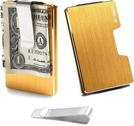 STCRAFT マネークリップ カードケース スキミング防止 ミニ財布 メンズ レディース 8色(ゴールド)