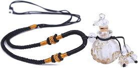トムタスク アロマ 香水 ペンダント 香水瓶 ネックレス アンティーク フレグランス ボトル 瑠璃瓶 ガラス 綿紐 アクセサリー 香水入れ 携帯(ホワイト)
