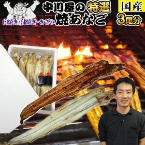 【国産 お試し♪】アナゴ(焼きあなご)中川屋の焼きあなご3尾分!!うなるほど美味いアナゴ料理のこの逸品!鰻の蒲焼きや煮あなごとは違う上品な味!アナゴ料理 国産あなご 焼き あなご