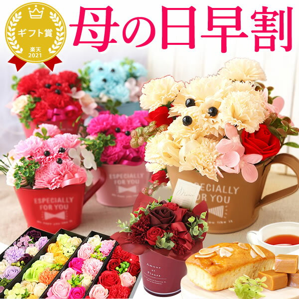 早割4/29まで!母の日ギフト 送料無料 シャボンフラワー 選べる花とスイーツセット[シャボンフラワーB][花]AA