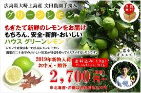 【送料無料】広島県大崎上島産ハウスグリーンレモン 防腐剤不使用 良品1kg(約8玉〜10玉)
