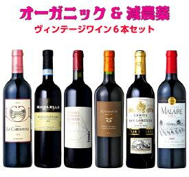 ワイン オーガニックワイン ワインセット セット 送料無料 オーガニック 自然派ワイン 赤ワイン 赤 ハロウィン 飲み比べセット 飲み比べ 家飲み ソムリエ ベストセレクション 20年以上前のワイン含むすべてが『ヴィンテージ』辛口赤6本セット !!