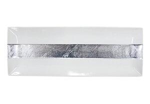 白磁 銀箔襷 長角皿