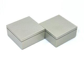 3.5寸マス重 銀/ 3.5 SUN MASUJYU 2個セット【ミニ重箱】