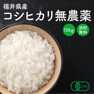 小嶋農産 福井県産コシヒカリ【JAS認定 無農薬】白米・玄米 10kg 産地直送 送料無料