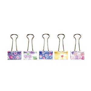 ソニック ダブルクリップ <花柄クリップ> 15個入り かわいい花柄 口幅:19mm メーカー品番:GP-472 袋入り