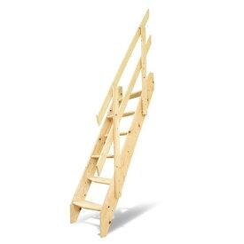 DOLLE ドーレ デザインステップ 片側手すり仕様 木製 ロフト はしご 階段 北欧 デンマーク スプルース 手すり 踏み板 側板 階段キット 組み立て