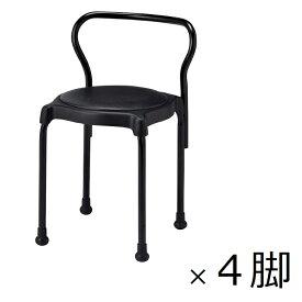 【受注生産】【4脚セット】スツール 黒丸椅子 キュポBKB ブラック レザー張り 背付き 1箱(4脚入) 送料別 [CUPPO-BK-B]