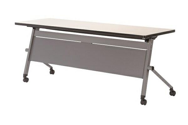 【受注生産品】フラップ式会議テーブル 樹脂パネル付 幅1500×奥行600×高さ700mm 【LQH-1560P】