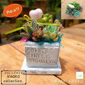 プランツデザイナーNAOKO 多肉植物 寄せ植え ギフト 観葉植物 セメント素材 ポット ハートピック おしゃれ お祝い 誕生日プレゼント 開店祝 素敵 かわいい 人気 送料無料