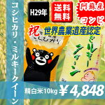 【平成29年産米】熊本県阿蘇産コシヒカリ5kg・ミルキークィーン5kg