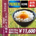 【特A】平成29年産米 熊本県産 こだわり七城米(菊池米ヒノヒカリ) 玄米30kg(10kg×3袋)【送料無料】 【おいし…