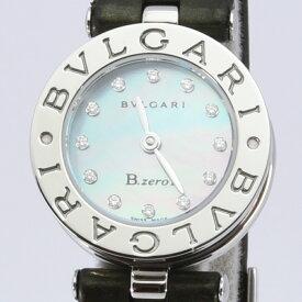 ブルガリ 時計 レディース BVLGARI クォーツ B-ZERO1 ビーゼロワン ダイヤモンド 12P SS ステンレススチール レザー シェル 磨き済み 中古
