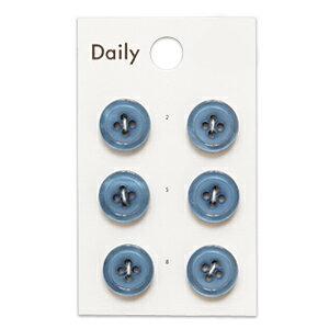 ボタン Daily 貝調ポリエステル4つ穴ふちあり(OKDB-003) 13mm BL.グレーブルー (H)_6a_