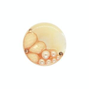 ボタン シェルべースフラワージュエルボタン (86892) 25mm 42.ベージュ (H)_6a_