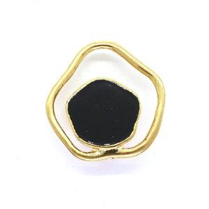 ボタン リング状メタル×エポキシボタン (M126/47164) 25mm ゴールド×黒 (H)_6a_