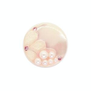 ボタン シェルべースフラワージュエルボタン (86892) 25mm 12.ライトピンク (H)_6a_