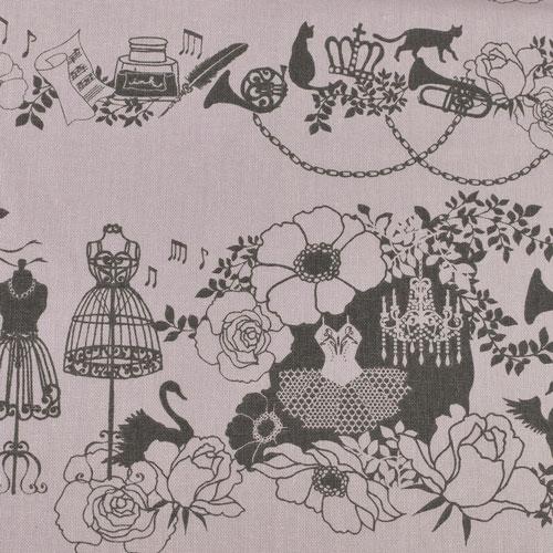 生地 KayoHoraguchi-ホラグチカヨ- バレエミュージック/綿麻キャンバス(HKF-54) V.ヴァイオレット系 (B)_atj
